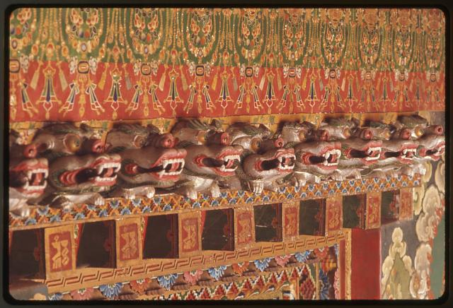 [Dragon head carvings above royal palace temple door, Gangtok, Sikkim]