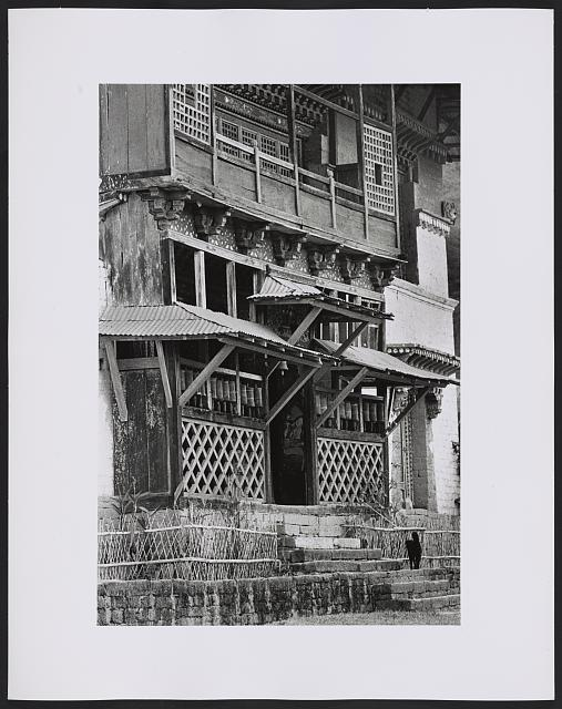 [Unidentified building with prayer wheels, possibly a monastery, Sikkim]
