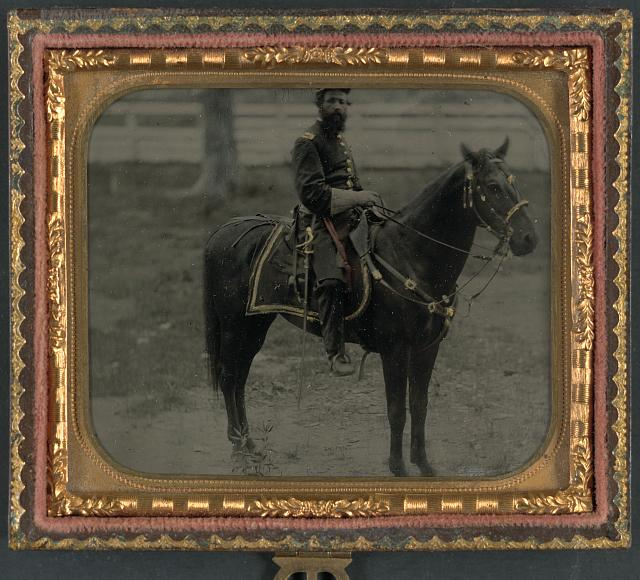 [Unidentified soldier in Union officer's uniform on horse]