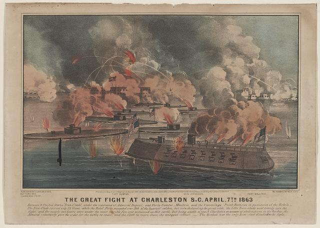 "The great fight at Charleston S.C. April, 7th 1863: between 9 United States ""Iron-Clads,"" under the command of Admiral Dupont; and Forts Sumter, Moultrie, and the Cummings Point Batteries in possession of the rebels"