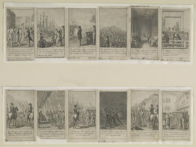 [Scenes from events and battles leading up to and during the American Revolution, 1775-1783, as depicted in 12 illustrations]