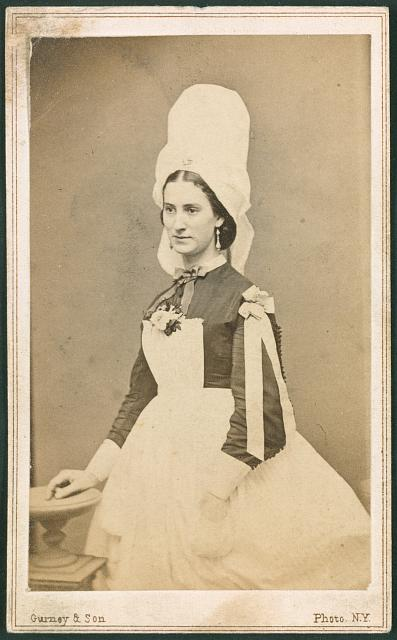 Costume of ladies' at the Normandy stand, Metropolitan Fair, April 1864