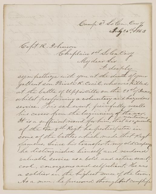 [Letter from Thomas Screven to the father of R. Cecil Johnson]