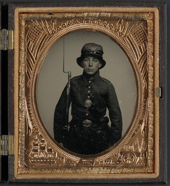 [Unidentified young soldier in 5th New Hampshire Infantry uniform and Whipple hat with bayoneted musket]