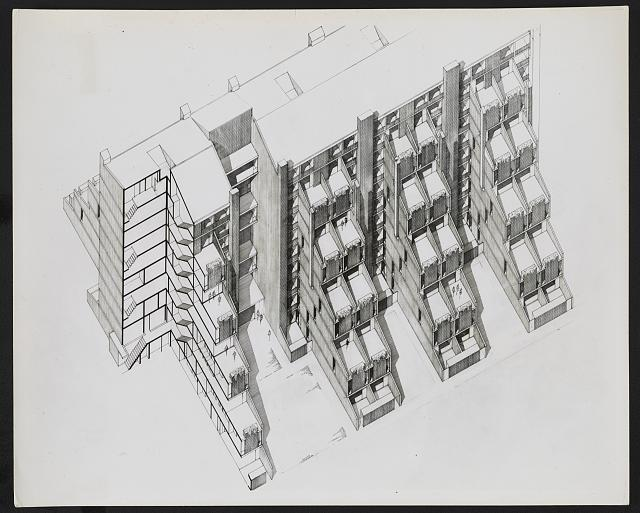 [Fort Lincoln housing, Washington, D.C. (project). Mid-rise housing. Axonometric rendering]