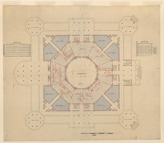 "[Library of Congress (""Congressional Library""), Washington, D.C. Plan and sections]"