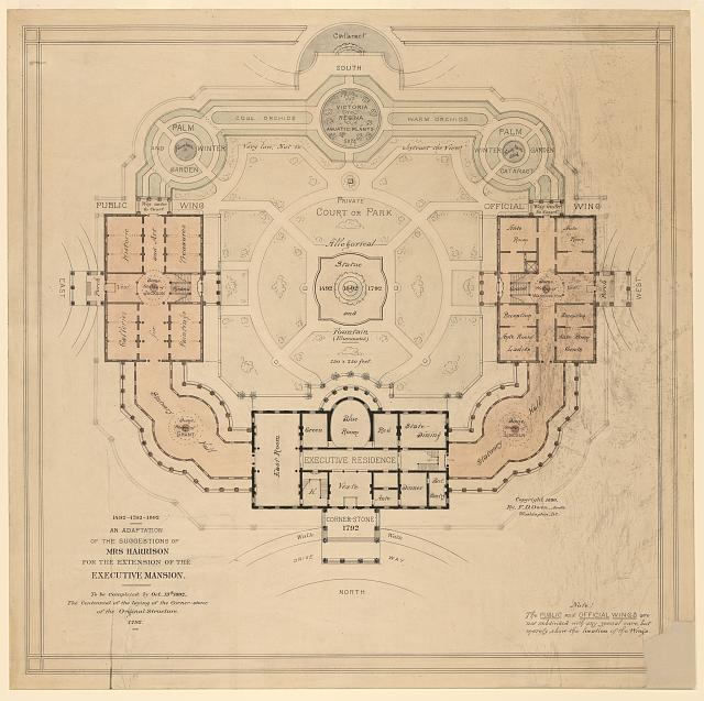 [Alterations to the Executive Mansion, for Mrs. Benjamin Harrison, Pennsylvania Avenue, N.W., Washington, D.C. Site plan, with suggestions]