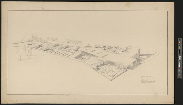 [American University, Art center and school, Washington, D.C. (project) Bird's-eye view rendering]