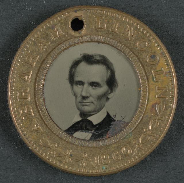 [Abraham Lincoln-Hannibel Hamlin campaign button for 1860 presidential election]