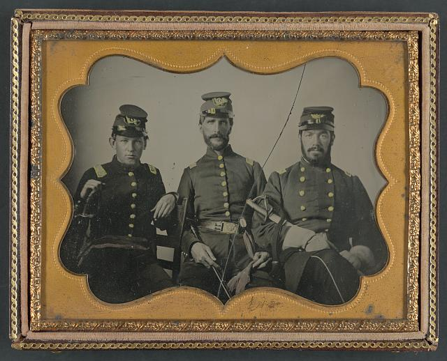 [Three unidentified soldiers in Union uniforms with swords]