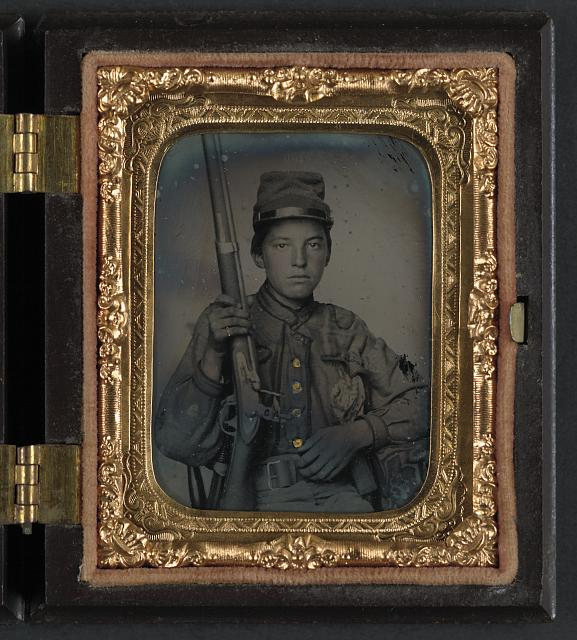 [Sergeant William T. Biedler, 16 years old, of Company C, Mosby's Virginia Cavalry Regiment with flintlock musket]