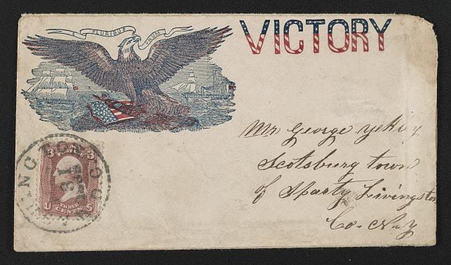 "[Civil War envelope showing eagle and shield with sailboat and steamboat in the distance and bearing message ""Victory""]"