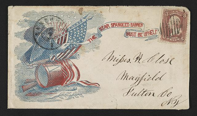 "[Civil War envelope showing eagle atop arrows and drum with American flag, cannon, and rifles bearing message ""The Star Spangled Banner must be upheld""]"
