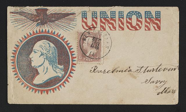 "[Civil War envelope showing eagle above portrait of George Washington with message ""Union""]"