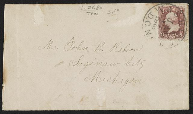 "[Civil War envelope showing (on back) red, white, and blue ribbon tied in a bow with the message ""Union""]"