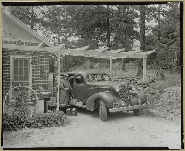 Frances B. Johnston at the Wheel Inn, Morganton, N.C.
