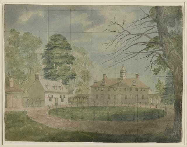 [Mount Vernon with outbuildings shown from the far side of the driveway]