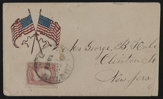 [Civil War envelope showing two American flags tied with a ribbon]