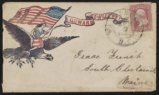 "[Civil War envelope showing Columbia waving American flag and riding on the back of an eagle clutching arrows with message ""Onward to victory""]"