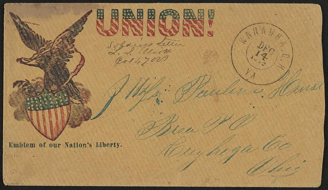 "[Civil War envelope showing eagle atop shield with messages ""Union!"" and ""Emblem of our nation's liberty""]"