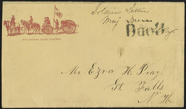 [Civil War envelope for Manchester Light Battery showing team of four horses pulling a limber and cannon]
