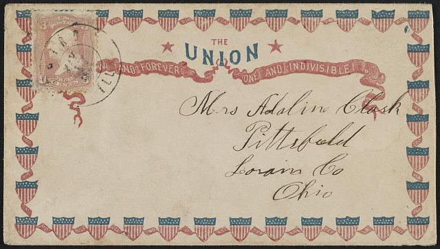 "[Civil War envelope showing shields with message ""The Union, [no]w and forever, one and indivisible!""]"