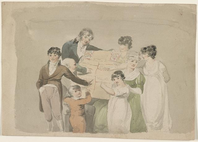 [Family group - Smith, his wife and six children pointing at examples of their work]