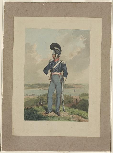 [Soldier from the First City Troop, Philadelphia, in uniform and helmet with a plume, standing on a bluff over looking a river, perhaps the Schuylkill or the Delaware]