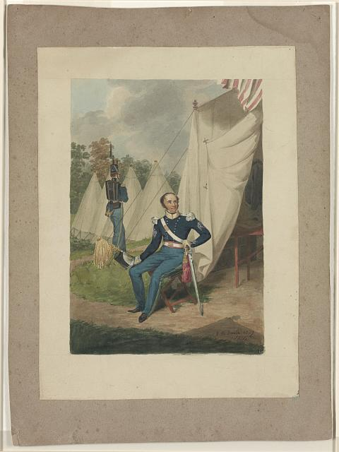 [Officer from the First Troop, Philadelphia, seated by a tent in which a writing desk is visible. A soldier marches with a rifle nearby]