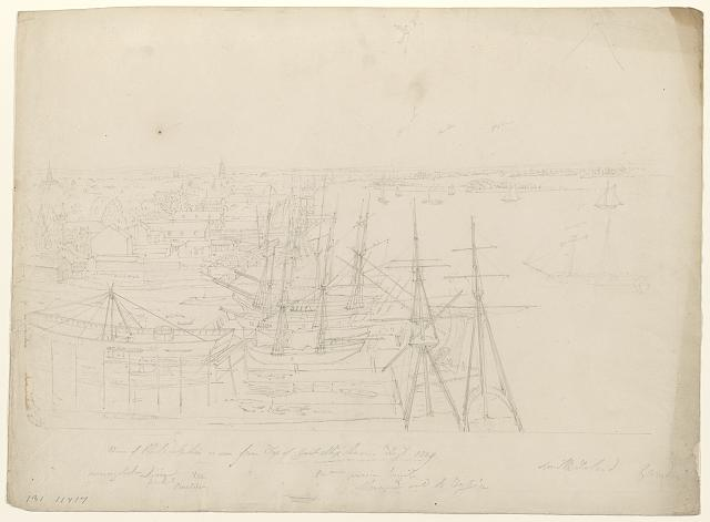View of Philadelphia as seen from top of Great Ship House, Augt. 1829