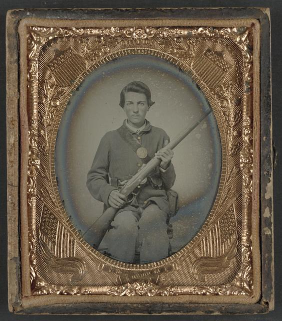 [Private Samuel Wires of Company K, 137th Indiana Infantry Regiment, with musket]