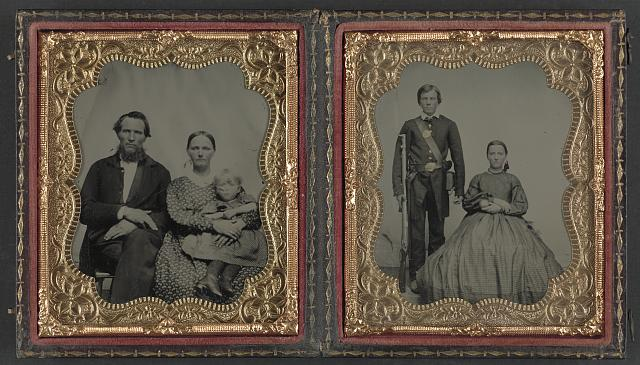 [Unidentified man, woman, and child and unidentified soldier with musket and woman]