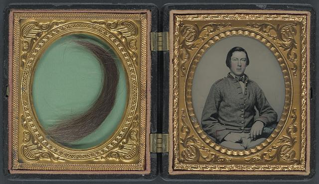 "[Private William Savage Moore of Richmond ""Parker"" Virginia Light Artillery Battery, 1st Company Howitzers Virginia Light Artillery Battery, and I Company, 15th Virginia Infantry Regiment and lock of hair in case]"