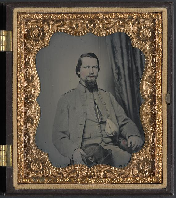 [Unidentified soldier of Laurel Brigade Virginia Cavalry Regiment with tobacco pouch]