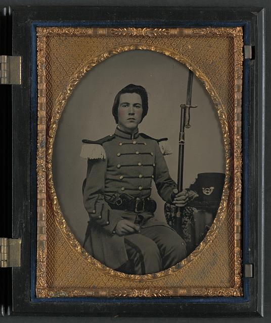 [Major Thomas B. Beall of Company I, 10th Mississippi Infantry Regiment with bayoneted musket, with two stars in case]