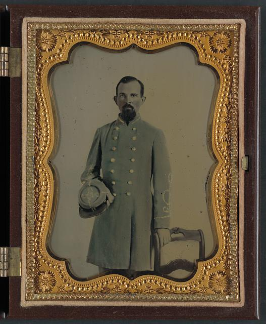 [Unidentified officer in Confederate lieutenant's uniform with kepi]