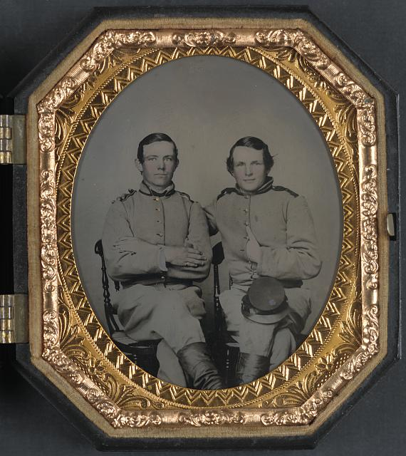[Private Reggie T. Wingfield and Private Hamden T. Flay in Confederate uniforms]