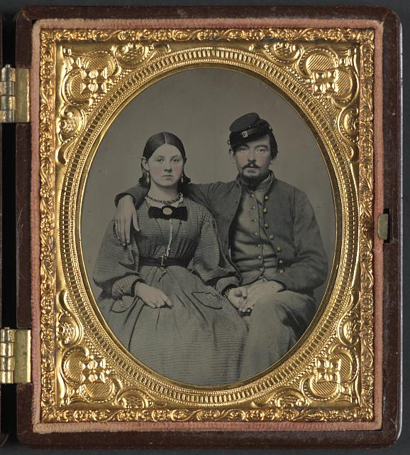 [Private Edward A. Cary of Company I, 44th Virginia Infantry Regiment, in uniform and his sister, Emma J. Garland née Cary]