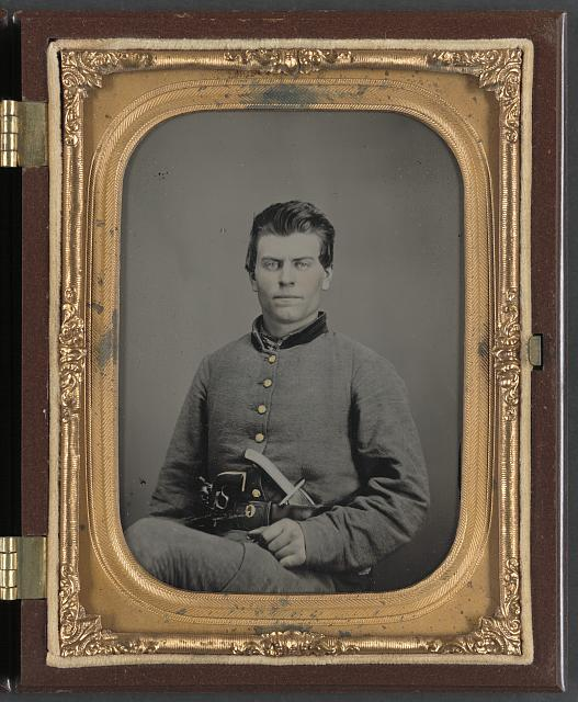 [Theophilus Mann of Company G, 1st (Farinholt's) Virginia Infantry Battalion Reserves, with pistol and knife]