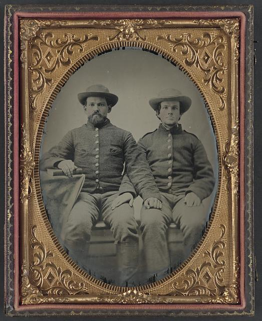 [Private Charles Chapman of Company A, 10th Virginia Cavalry Regiment, left, and unidentified soldier]