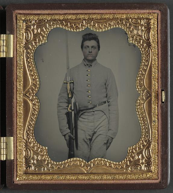 "[Private Parris P. Casey of Company I, ""Cherokee Rangers,"" 19th Alabama Infantry Regiment, with bayoneted musket]"