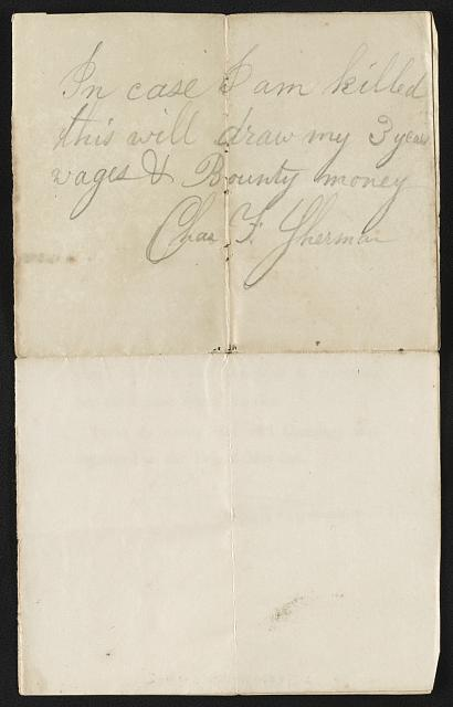 [Certificate to muster Charles F. Sherman into 2nd Massachusetts Light Artillery Battery at Camp Adams, Quincy, Massachusetts]