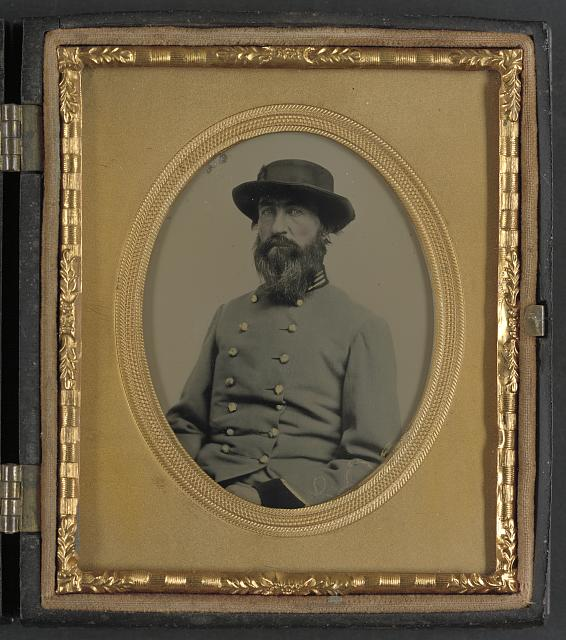 [Unidentified soldier in Confederate captain's uniform with black cuffs to indicate that he is a surgeon]