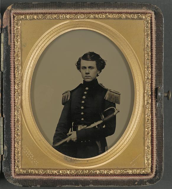 [Unidentified officer in Union uniform with sword]