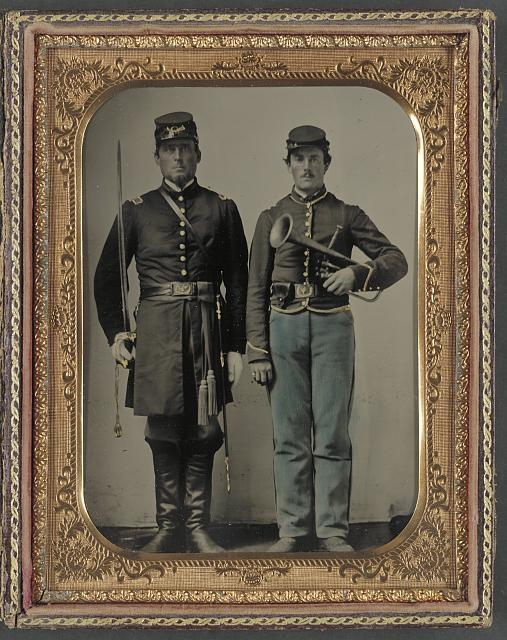 [Two unidentified soldiers with sword and saxhorn]