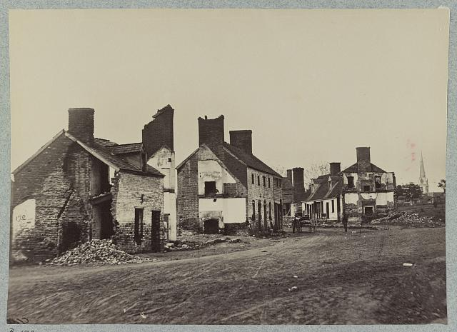 Street in Fredericksburg, Va., showing houses destroyed by bombardment in December, 1862
