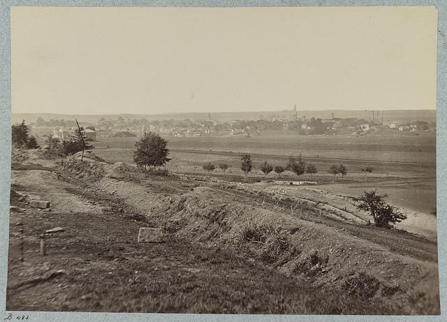 Rear view of Fredericksburg, Va. Confederate fortifications in foreground