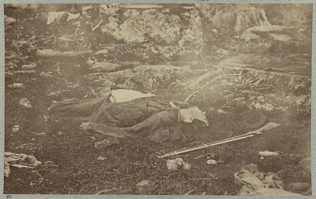 Battlefield of Gettysburg. Dead Confederate sharpshooter at foot of Little Round Top