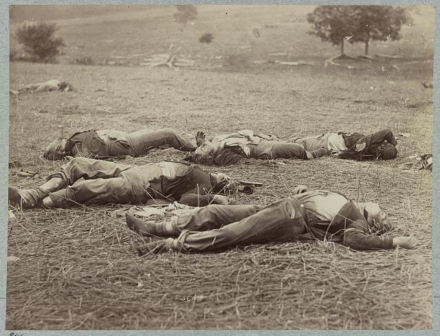 Battlefield of Gettysburg. Bodies of dead Federal soldiers on the field of the first day's battle