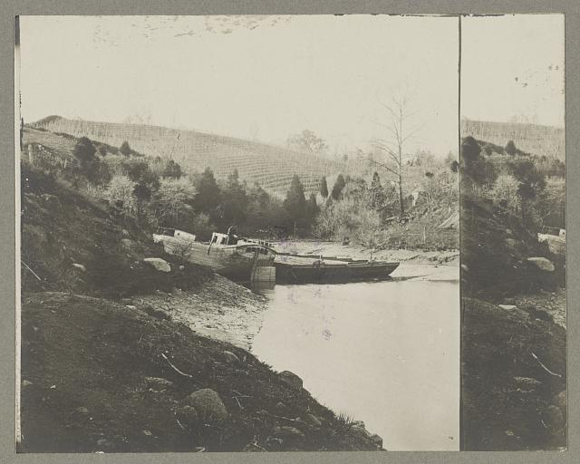 [Boats docked at the shore of a river in a wooded area]